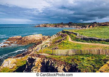 landskap, av, ostadig, atlanten kust, in, bretagne, (bretagne), frankrike