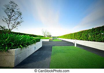 landskap, av, trädgård, på, taktopp