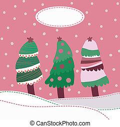 landskap, bakgrund, snö, träd, jul