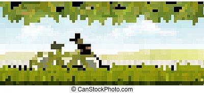 landskap, bicycle., äng, vector., natur