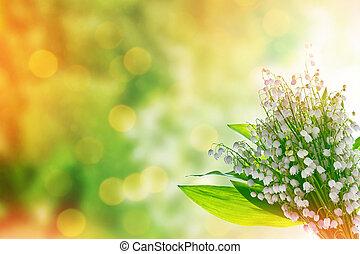 landskap, Blomstrar, dal, lilja, fjäder