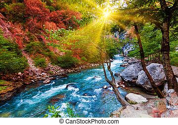 landskap, composition., skönhet, natur, bakgrund., vacker, landskap