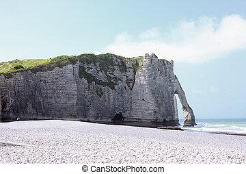 landskap, den, klippor, av, etretat, in, frankrike