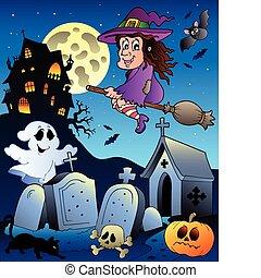 landskap, halloween, 5, kyrkogård