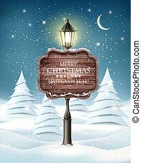 landskap, helgdag, kväll, jul, vinter, lamppost, träd., vektor