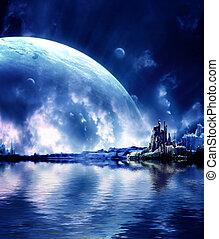 landskap, in, fantasi, planet