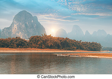 landskap, in, yangshuo, guilin, porslin