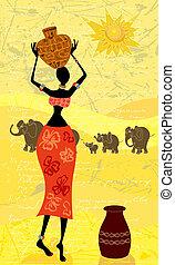 landskap, med, en, afrikansk kvinna, dekorativ