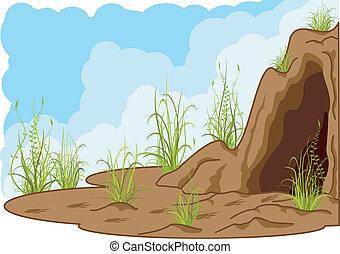 landskap, med, grotta