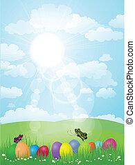 landskap, med, påsk eggar