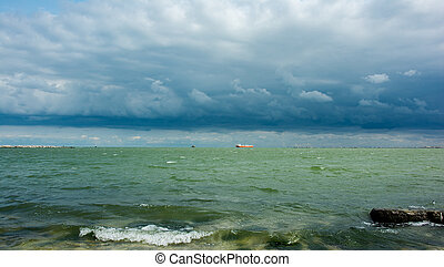 landskap, med, regn sky, över, den, hav