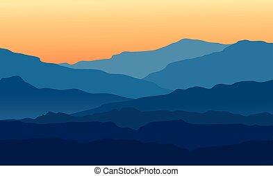 landskap, med, skymning, in, blå fjäll
