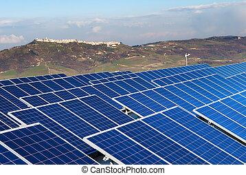 landskap, med, solar panel, installatio