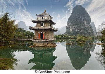 landskap, porslin, guilin, yangshuo
