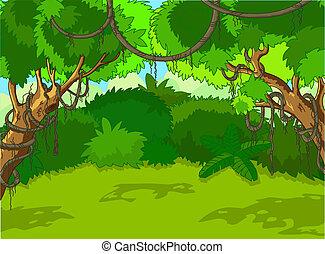 landskap, skog, tropisk