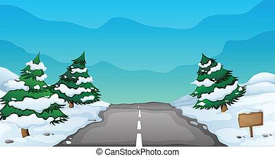 landskap, snöig