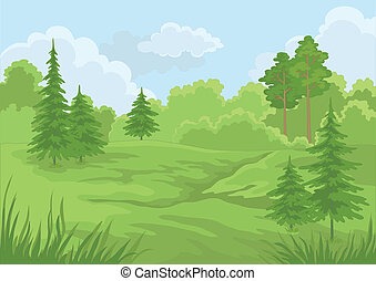landskap, sommar, skog