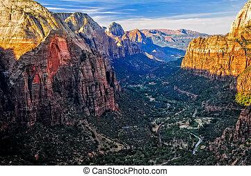 landskap, synhåll, av, kanjon, från, änglar, landstigning, in, sion medborgare parkera, utah, usa