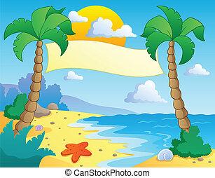 landskap, tema, strand, 4