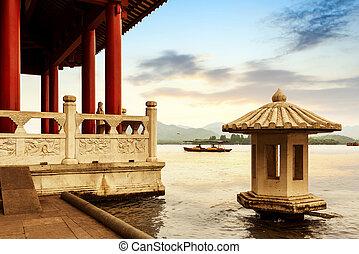 landskap, väst, hangzhou, porslin insjö