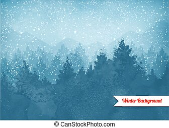 landskap, vinter, bakgrund