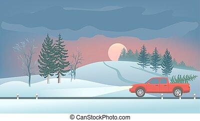 landskap., vinter, gran träd, jul, träd., road., pickupen