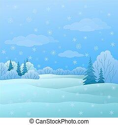 landskap, vinter, skog
