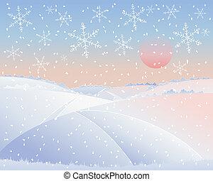 landskap, vinter, väg