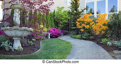 landskapsarkitektur, frontyard, stensättare, gång