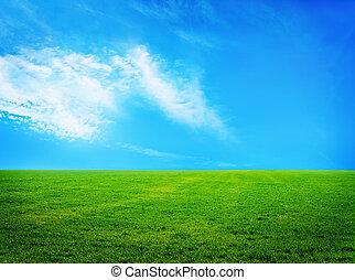 landskipe in Crimea - nature background, grass and sky in...