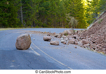Landslide Blocked Road - This national forest road is...