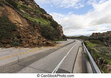 Landslide Los Angeles California - Landslide road closure on...
