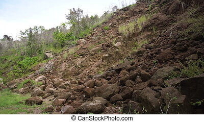 Landslide on the mountain road. Camiguin island Philippines.