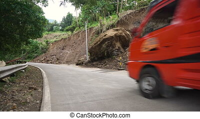 Landslide on the mountain road..Camiguin island Philippines.