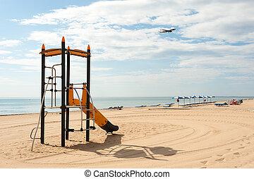 landstigning, för, strand, nöje