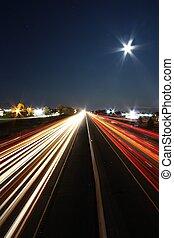 landstraße, lichter, nacht