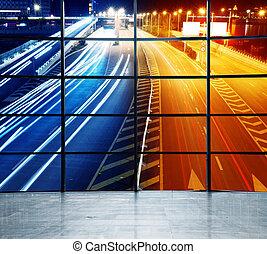 landstraße, spuren, licht