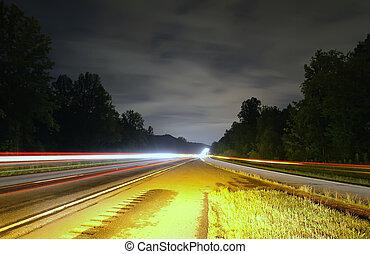 landstraße, verkehr, nacht
