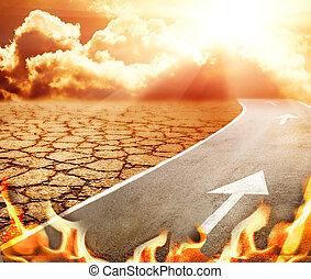landstraße, zu, hölle, durch, wüste
