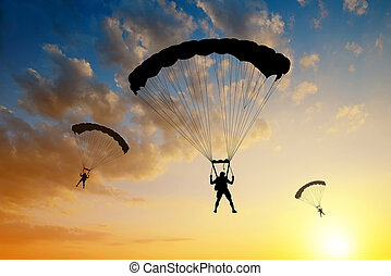 landung, fallschirmspringer