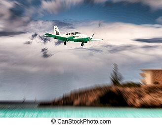 landung, motorflugzeug, bei, der, sandstrand, geschaeftswelt, und, reise, begriff