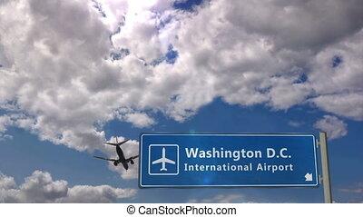 landung, motorflugzeug, gleichstrom, washington