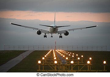 landung, motorflugzeug