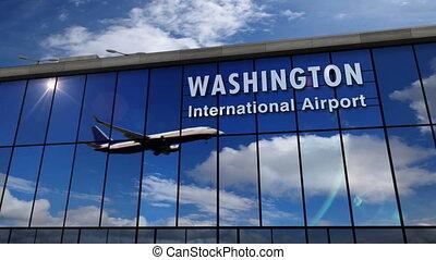 landung, terminal, washington, motorflugzeug,...