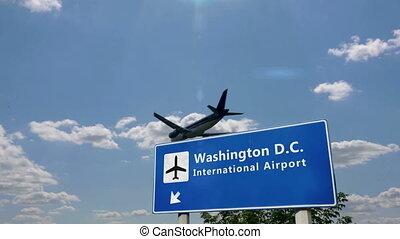 landung, washington, motorflugzeug, gleichstrom
