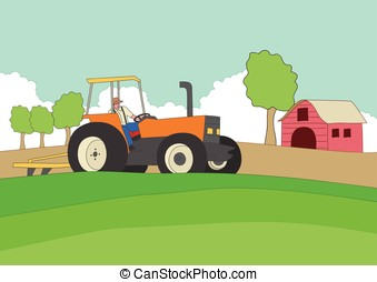 landwirt, fahren, a, traktor