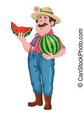 landwirt, heiter, karikatur, zeichen