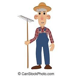landwirt, karikatur, ikone