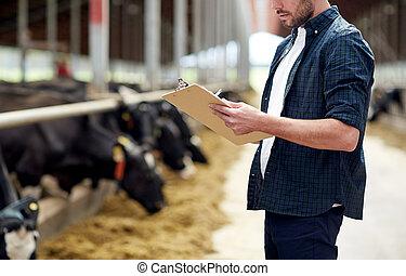 landwirt, mit, klemmbrett, und, kühe, in, kuhstall, auf,...