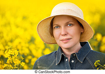 landwirt, oilseed, feld, rapeseed, weibliche , kultiviert, ...